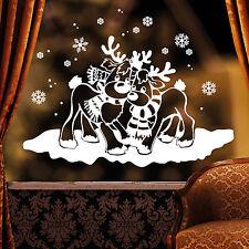 10989 Sticker mural Fenêtre Autocollant hiver tombé en amour avec élan dans