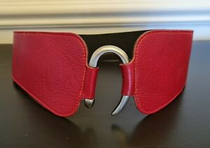 TRISTAN Red Leather Ladies Belt, XS, Wide, Elastic Back
