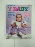 """VINTAGE 1985 """"MCCALLS MAKES IT FOR BABY"""" /KNIT/CROCHET PATTERNS-Sweater, Blanket"""