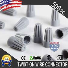 (500) Gray Twist-On Wire GARD Connector Conical nuts 22-16 Gauge Barrel Screw US