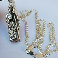 """Details about  /925 Sterling silver St Jude San Judas Tadeo Heavy  24/"""" chain rope"""
