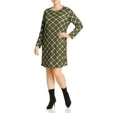 MICHAEL Michael Kors Womens Green Plaid Daytime T-Shirt Dress Plus 1X BHFO 7415