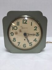 Sessions Electric Clock Wall or Mantle Art Deco Green Made in USA Vintage