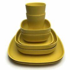 2 Ekobo Biobu Gusto Dinnerware Sets Bowls Plates Cups Lemon Yellow Mid Century