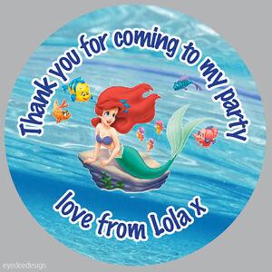 70 x Personalised Princess Ariel Mermaid Birthday Stickers Thank you Seals -334