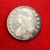 1830 Capped Bust Half Dollar, Very Nice Original Toning 50c Beautiful Coin