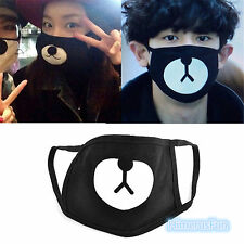Black Cute Bear Unisex Cotton Mouth Face Mask Respirator For Cycling Anti-Dust