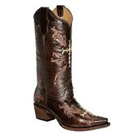 CIRCLE G By Corral Ladies Chocolate Embroidered Cross Cowgirl Boot L5039 NIB