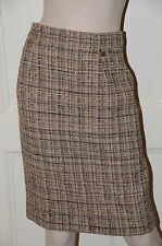 $2565 NEW CHANEL Beige Black Grey  Fantasy Tweed Leather Suit SKIRT 38 CC logo
