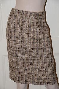 Neuf Chanel Beige Noir Gris Fantaisie Tweed Cuir Costume Jupe 38 Cc Logo