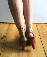 Vintage 1950s black seam nylon stocking 9,5 with black keyhole pink heel 39 UK6