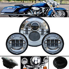 """For Harley Touring 7"""" Chrome LED Projector Daymaker Headlight + Passing Lights"""