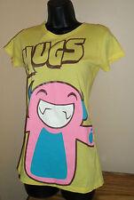 Women's/Girls Yellow Pink Blue Hugs Cute Graphic T-Shirt Top 100% Cotton