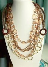JEWELLERY  NICE BROWN CORD NECKLACE, GOLD TONE CHAIN, AMBER COLOURED BEADS 582