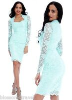 Goddess Mint Scalloped Lace Fitted Wiggle Pencil Cocktail Party Evening Dress
