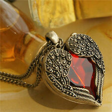 Vintage Style Bronze Wing Alloy Heart Red Rhinestone Crystal Finished Necklace