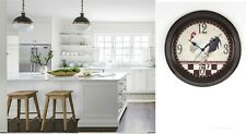 HOMETIME ROUND WALL CLOCK BLACK CASE AND ROOSTER DIAL 12 Months Warranty