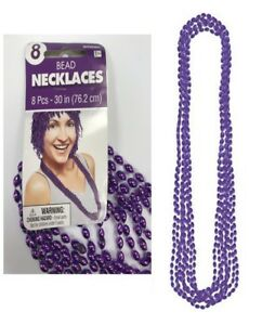 PACK OF 8 PURPLE BEAD NECKLACES - GIRLS PARTY FAVOURS MARDI GRAS PRIZES BEADS