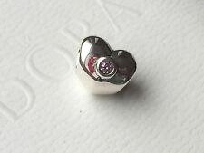 AUTHENTIC PANDORA SILVER PINK STONE HEART BEAD 790134PCZ