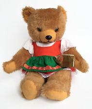 "Hermann Original Brown Teddy Bear 13"" Germany 80s Vintage Green Red White Dress"