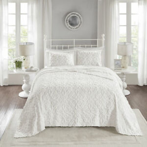 NEW!  ULTRA SOFT PLUSH WHITE XXL LARGE SHABBY CHIC CHENILLE BEDSPREAD QUILT SET