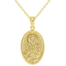 Virgin Mary Mother Of God Religious Oval Medal Womens Pendant Necklace 19""
