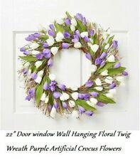 """Easter Spring Floral Twig Wreath Purple Flowers 22"""" Door window Wall Hanging"""