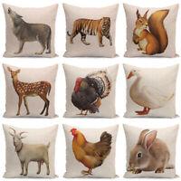 18'' Animals Dog Pillow Case Cotton Linen Sofa Cushion Cover Sofa Home Decor UK