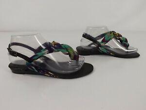 Novo Size 7 Flat Sandals 'Tapis' Black Multi Thongs Sling Back Casual