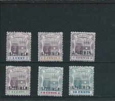 More details for mauritius 1895-99 set of six overprinted specimen mm sg 127s/132s cat £150