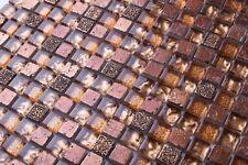 1 SQ M Gold Glass & Brown Stone Mosaic Tiles 0158