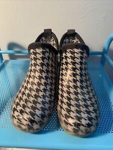 Copelli Black White Rubber  Rain Ankle Boots Size 8