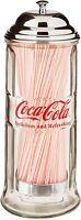 Straw Dispenser Glass Holder Jar Vintage Coke Bottle Soda Drink Diner