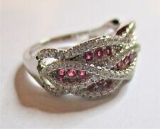 STERLING SILVER SPARKLING CUBIC ZIRCONIA WAVE RING SIZE  M   WITH RED STONES