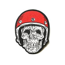 Skull in Red Helmet, Iron-On/Sew-On Embroidered Patch Applique, Punk Biker Vest