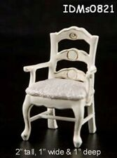 ORNATE WHITE CHAIR 1:24 HALF SCALE DOLLHOUSE MINIATURES Heirloom Collection