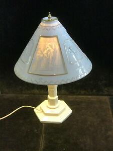 Große Lithophanie Porzellan Tischlampe mit Schirm von Schierholz Plaue ca. 48 cm