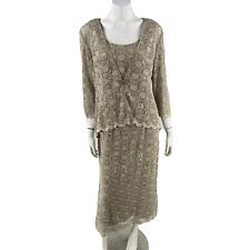 R & M Mother of the Bride Dress 12 Taupe Gray Sequin Lace Formal 2 Piece Jacket