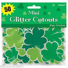 50 St. Patrick's Day Party Green Shamrock Mini Cutout Wall Window Decorations