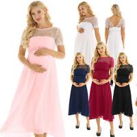 Pregnant Women Short Sleeve lace Chiffon Dress Maternity Photography Maxi Gown