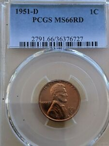 1951-D RED PCGS MS-66  Lincoln BU   coin uncirculated cent  Whole Set Listed