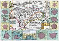 MAP ANTIQUE LE FEUILLE 1747 ANDALUSIA GRANADA SPAIN REPLICA POSTER PRINT PAM0981