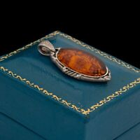 Antique Vintage Deco Sterling Silver Baltic Amber Intaglio Necklace Pendant 4.6g