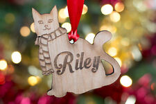 Personalised Wooden Cat Christmas Bauble Xmas Tree Decoration Pet Gift Present