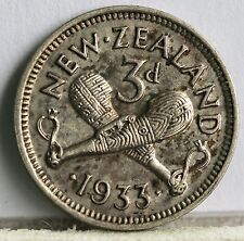New Zealand, George V, Sterling Silver Threepence, 3d. 1933, gEF.