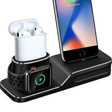 Black Charging Stand Station Dock For Apple Watch Series 3 iPhone X And Airpods