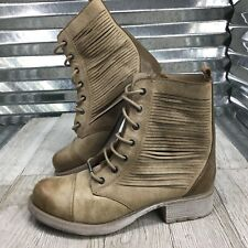 Circus By Sam Edelman Gatso Faux Leather Taupe Women's Combat Boot Cap Toe Sz 7
