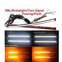 2X Switchback Flowing LED Light Strip Tube For Turn Signal Brake Strobe Light