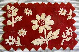 Felted Wool Blend Rug Hand Embellished Applied Flowers