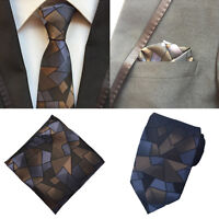 Men Blue Brown Checks Silk Necktie Ties Pocket Square Handkerchief Lot HZ147
